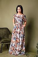 Длинное платье с цветочным принтом серо-синее, фото 1