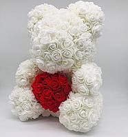 Мишка из роз, цвет белый, высота 40 см, мягкая игрушка, игрушка из роз, медведь из роз
