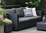 Диван садовий Allibert by Keter Salta 3-Seater Sofa Graphite ( графіт ) з штучного ротанга, фото 10
