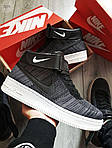 Мужские кроссовки Nike Air Force Flyknit Hight Dark Grey (серые) 152PL, фото 2