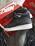 Мужские кроссовки Nike Air Force Flyknit Hight Dark Grey (серые) 152PL, фото 4