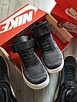 Мужские кроссовки Nike Air Force Flyknit Hight Dark Grey (серые) 152PL, фото 5