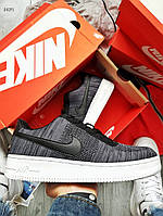 Мужские кроссовки Nike Air Force Flyknit Low Dark Grey (серые) 042PL