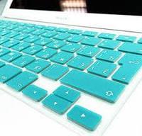 """Накладка на клавиатуру MacBook 13"""" 15"""" 17"""" 2011-2016 EU бирюзовая с русскими буквами"""
