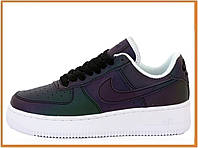 Женские кожаные кроссовки Nike Air Force 1 Low Reflective (найк аир форс 1 низкие, хамелеон) рефлектив