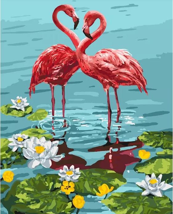 "Картина по номерам. Птицы ""Пара фламинго"" KHO4144"