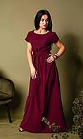 Легкое длинное платье бордовое