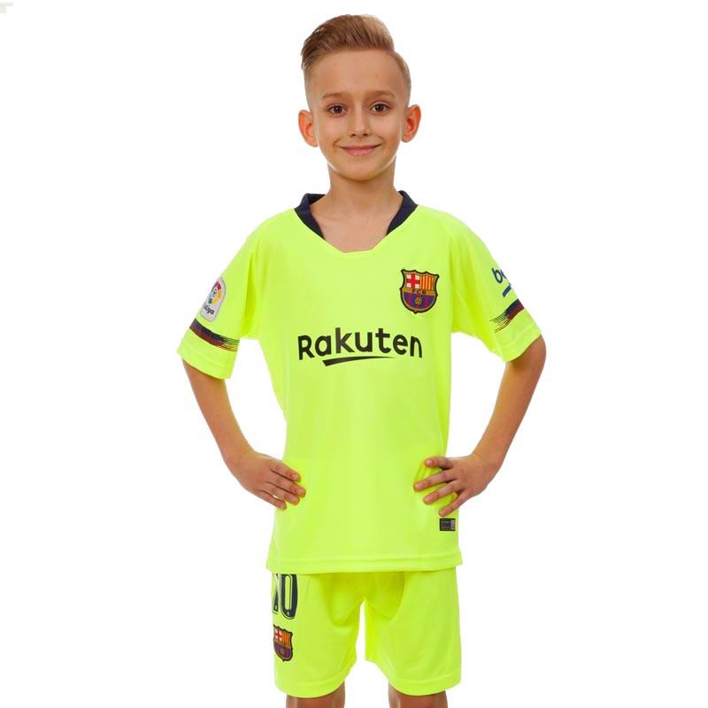 Форма футбольная детская BARCELONA MESSI 10 гостевая 2019 SP-Planeta CO-7294 (р-р 20-30 6-16лет, 110-155см, салатовый)
