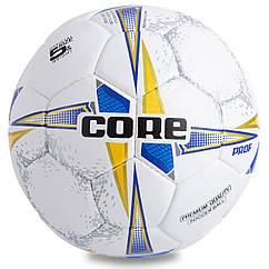 Мяч футбольный №5 COMPOSITE LEATHER CORE PROF CR-001 (№5, 4 сл., сшит вручную, белый-синий-желтый)