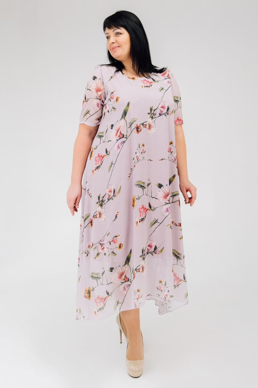 Шифоновое летнее платье с цветочным принтом сиреневое