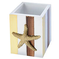 """Подставка для карандашей """"Морская"""" N0064, квадрат, МДФ, канцтовары, подставка для ручек, настольные принадлежности"""