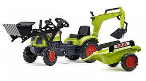 Детский трактор на педалях с прицепом, передним и задним ковшом FALK 2040N Claas Arion (цвет- зеленый)