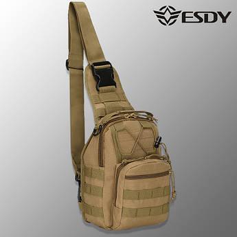 """🔥 Тактическая сумка """"Esdy - EDC"""" (койот) однолямочный рюкзак, зсу, полиции, нацгвардии"""
