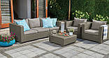 Диван садовий Allibert by Keter Salta 3-Seater Sofa Cappuccino ( капучіно ) з штучного ротанга, фото 7