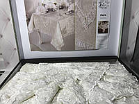 Велюровая скатерть 160х220см, дорожка, салфетки c кольцами