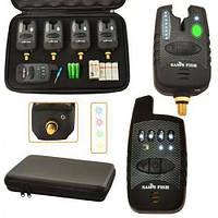 Набор сигнализаторов SF23657 в кейсе, с пейджером 4+1, пластик+железо, сигнализатор поклевки, сигнализатор в наборе, сигнал поклевки