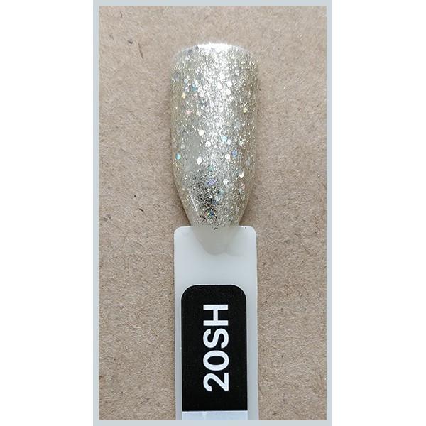 Гель-лак Kodi Professional 20SH, Холодне золото з голографиком, брокат і гліттер