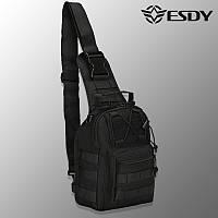 """🔥 Тактическая сумка """"Esdy - EDC"""" (черная) однолямочный рюкзак, зсу, полиции, нацгвардии"""