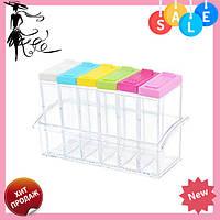 Кухонная подставка для хранения приправ и специй с 6-ю емкостями Seasoning Six Piece Set   спецовник 6 шт! Топ