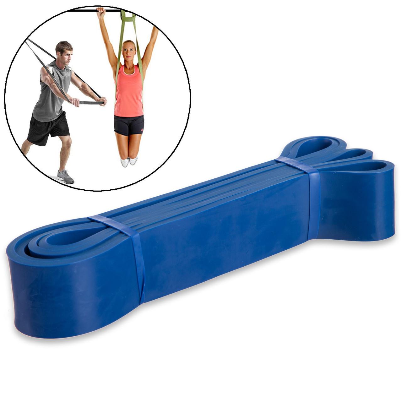 Резина для подтягиваний (лента силовая)(размер 2080x45x4,5мм, жесткость L, нагрузка 25-57кг, синий)