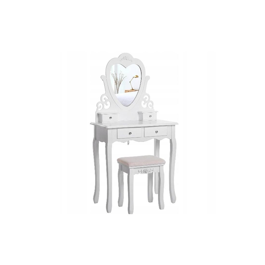 Туалетный столик с табуретом косметический столик Сердце (МДФ белый)