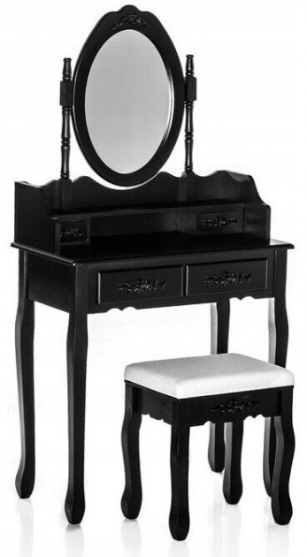Столик косметический с табуретом туалетный Bonro B002B чёрный (МДФ чёрный 4 ящичка)