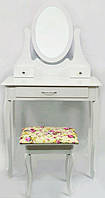 Косметичний Столик з табуретом, туалетний Bonro B007W білий (МДФ, 3 шухляди)