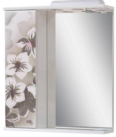 Зеркало для ванной комнаты Аэрография 60-01 левое Серые цветы, фото 2