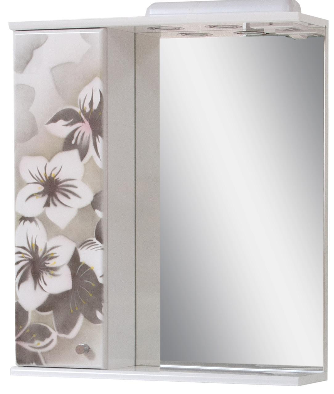 Зеркало для ванной комнаты Аэрография 60-01 левое Серые цветы