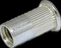 Клепальная гайка М4/0,5-2,5 открытая рифлённая с плоской головкой
