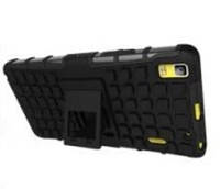 Чехол 2 в 1, бампер накладка для Lenovo A7000, основа и протектор/подставка черного цвета