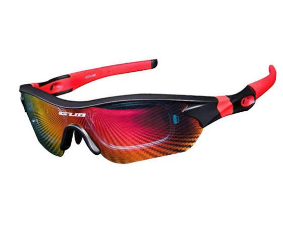 Очки велосипедные поляризованные GUB 5300 с тремя сменными линзами (черно-красные)