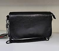 Маленькая черная сумка из натуральной кожи