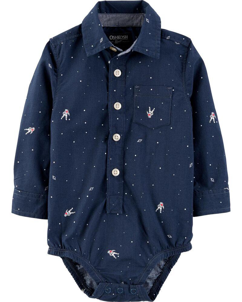 Темно-синяя боди-рубашка Космос ОшКош для мальчика