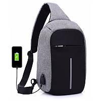 Сумка антивор в стиле Bobby mini. Рюкзак-антивор с USB портом Bobby Backpack синий! Топ продаж