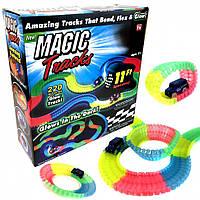 Меджик Трек 220 гнущий светящийся трек 220 деталей, Гоночный трек игрушка гибкий! Топ Продаж