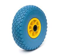 Колесо пенополиуретановое проколобезопасное диаметр 260 мм, нагрузка 125 кг (желто-голубое)