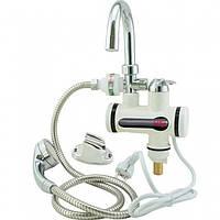 Проточный водонагреватель кран Delimano бойлер с душем и циферблатом (Подключение с низу), (Оригинал)