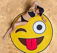 Пляжный круглый коврик Смайлик / пляжная подстилка / пляжное покрывало / пляжное полотенце! Топ Продаж