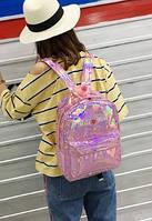 Рюкзак городской, школьный, Голографический, Блестящий, Розовый