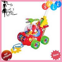 Каталка для ребенка на палочке красный Вертолет 0867 | детская игрушка | крутится пропеллер и каруселька! Акция