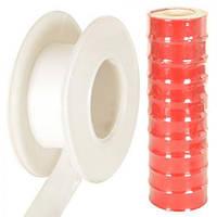 Фум - лента Stenson размер 12мм*10м, односторонняя, ПВХ, Фум-лента красная маленькая, Малярны инструмент