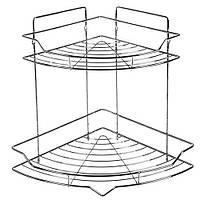 Полка в ванную MH-1970 угловая, 2ярусная, 25.5*25.5*32.8см, полки, полка в ванную, аксессуары для ванной комнаты, полочки