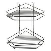 Полка в ванную MH-1981 угловая, 2ярусная, 20.5*20.5*34.3см, полки, полка в ванную, аксессуары для ванной комнаты, полочки