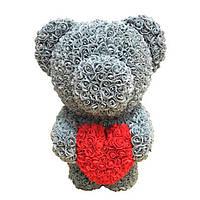 Мягкая игрушка Мишка из роз Bear Flowers Gray 45 см + подарочная коробка (hub_dyXo79489) КОД: hub_dyXo79489
