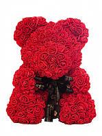 Мишка из алых 3D роз Oh My Teddy в подарочной упаковке 40 см Красный (FlowersBуar) КОД: FlowersBуar