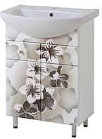 Тумба под раковину Либра 60-09 Серые цветы