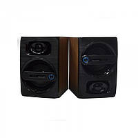 Компьютерные деревянные колонки акустика FT-108 Тёмно - коричневые, (Оригинал)