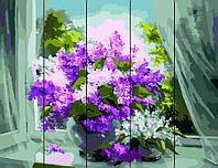 "Картина по номерам Rainbow Art на деревянном панно ""Сирень у окна"" 40х50см RA31-RA"