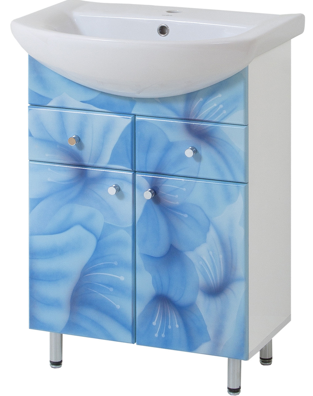 Тумба под раковину для ванной комнаты Аэрография 60-09 с умывальником Либра  Голубые цветы